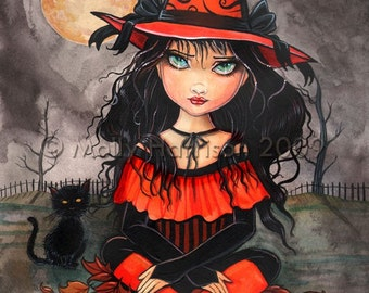 """Witch Black Cat Autumn Fine Art Giclee Print by Molly Harrison 'When's Halloween"""" 9 x 12 Giclee"""