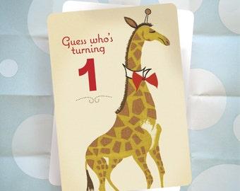 First Birthday Party Invitation - Giraffe - Vintage Barkcloth Design - Set of 10 Ready to Ship