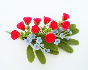 Miniature Polymer Clay Flowers Supplies Romantic Red Roses and Forget-Me-Not Bouquet
