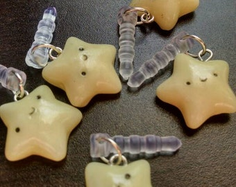 Kawaii Glow in the Dark Handmade Polymer Clay Cell Phone Dust Plug Charm