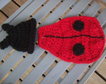 Ladybug,photo prop,babies,newborns,infants,crocheted,shower gift,girls,children