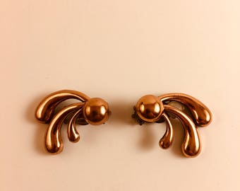 Vintage Renoir Copper Modernist Fan Clip On Earrings