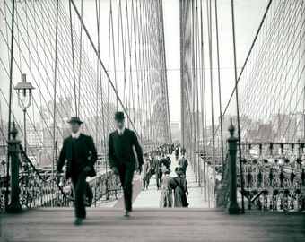 Vintage photo print New York City NYC Brooklyn Bridge pedestrians black and white photograph antique photo 1900s (1910)