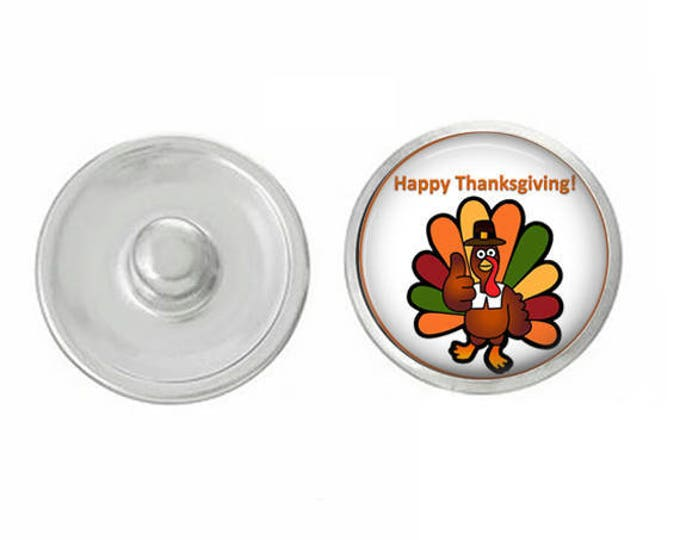 Happy Thanksgiving Turkey Snap for Jewelry - Bracelets - Charm Bracelets - Compatible with Gingersnaps - Ginger Snaps - Noosa - Chunk