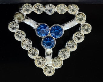 Striking Vintage 60s Rhinestone Mother's Day Heart Blue and Clear Modern Brooch or Pin