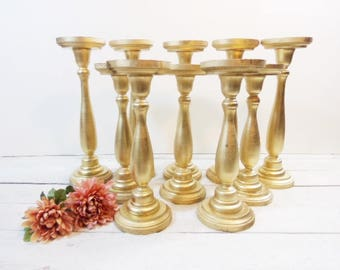 5 Wedding Candle Pillar Large Candle Holder Set of 5 Gold