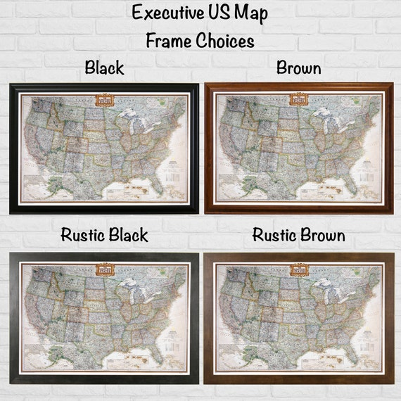 Executive US Travel Map with Pins and Frame Push Pin