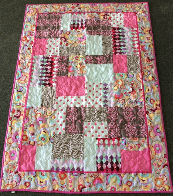 Tula Pink Quilt Patchwork Super Soft Shades of Pink Baby Children's Quilt Sweet 16 Pattern