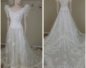 80s wedding dress etsy stunning vintage 80s wedding organza ivory dress wedding gown with train junglespirit Gallery