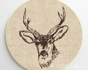 Deer Head Silhouette Counted Cross Stitch Pattern