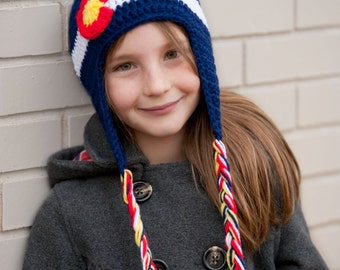 Crochet Colorado Flag Earflap Hat- Baby, Child, Teen, Adult, Sizes Blue, Red, White and Yellow,  Colorado Hat