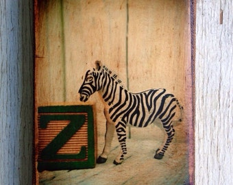 Vintage Toy  Z is for Zebra Art/Photo - Wall Art 4x6