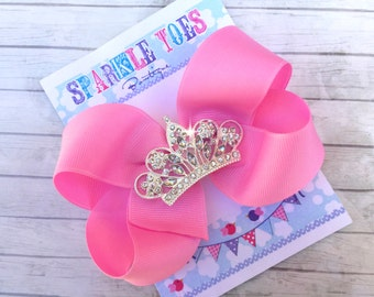 PRINCESS HAIR BOWS - You Pick Color - Rhinestone Tiara - Crown Bow - Flower girl bows - Shoe toppers - Princess Party - Sofia the first