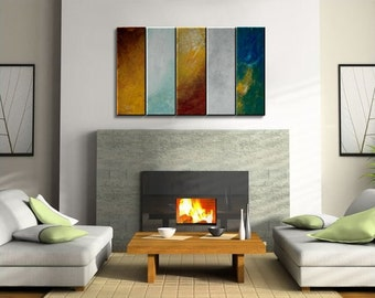 Original Modern Abstract Colorful Wall Art Happy Palette Knife Painting Sunshine Yellow White Blue Green Uplifting 40x24 Custom