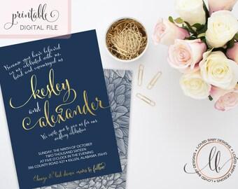 Wedding Invitation, Dahlia Wedding Invitation, Navy and Gold Wedding - Printable Digital File