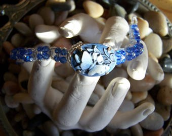 Cameo bracelet costume jewelry blue butterfly