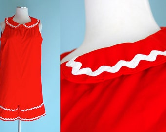 1960s Red Playsuit Shorts Romper // 60s Red Jumpsuit with White Ric Rac Trim
