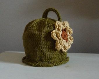 Flower Hat Handknit Infant Sunflower Pixie Hat Beanie Photo Prop Halloween Costume Sunhat