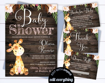 Rustic Baby Shower Invitation Template Girl Baby Shower Invite Giraffe Baby Shower Template Rustic Baby Girl Shower invitation