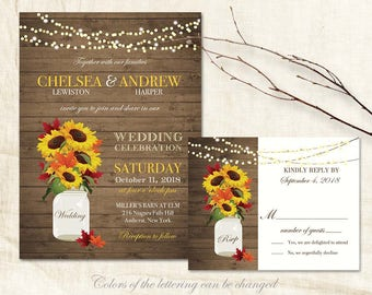 Rustic Fall Wedding Invitations Suite Fall Leaves Sunflowers Country Wedding Barn Wood Mason Jar Wedding Invite DIY Printable Template Kit