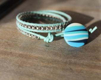 Seafoam Blue Double Leather Wrap Bracelet with Silver Chain and Vintage Button  Closure