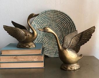 vintage large brass swan pair bird figurines