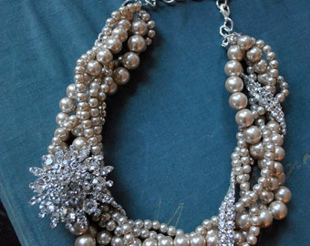 Champagne Pearl Twist with Brooch Statement Necklace-made to order