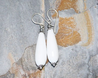 White Earrings, Jade Drop Earrings, Natural Stone Earrings, Handmade Earrings, Beaded Earrings, Dangly Earrings, Dramatic Earrings, For Her