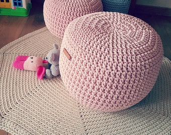 Pale pink Pouf 16'' Stuffed Hand Crochet Ottoman Pouf- perfect size used as Footstool or Ottoman. Available other colors