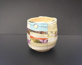 Coiled Ceramic Teabowl featuring an Abstract Landscape Design with Gold Lustre and Floral Enamels