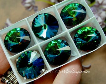 18mm Rivoli, Genuine Swarovski Crystal, Electric Sky UNF Blue Green 1122 With Silver or Gold Plated Setting, Crystal Sew On, Crystal Setting