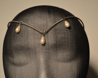 Delicate Twisted Silver Circlet with Dangles