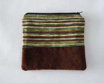 zipper bag - green and brown stripe with corduroy - colorblock zipper clutch - organizer - earth tones