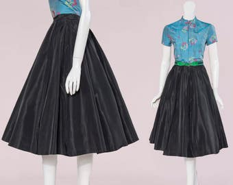 50s black taffeta full circle skirt - pin tucked detail | size extra small