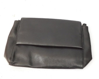 30% SPRING SALE Vintage 1980s 80s Dark Brown Genuine Leather Fold Over Envelope Handbag Purse Bag Clutch Organizer Fashion Accessory