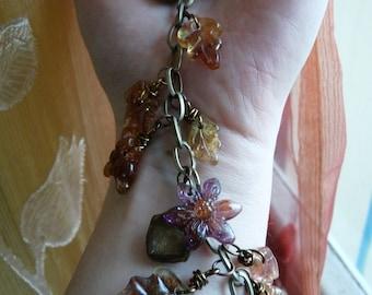 Bracelet In The Wood-eco resin-leaves flowers mushrooms