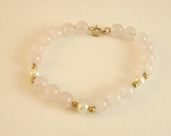 Rose Quartz Bead Bracelet with Pearls and 14k Gold Beads