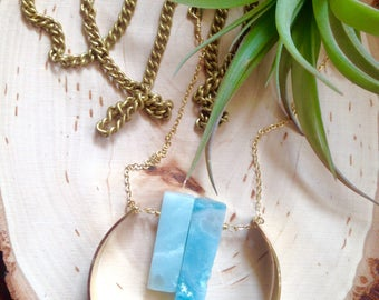 Raw Brass Circle Pendant Necklace w/Amazonite Gemstone Sticks