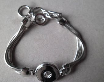x 1 to 21 cm silver DIY snap button toggle clasp snake chain bracelet