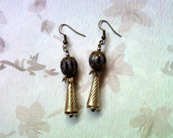 Gold, Silver, Brass and Black Earrings (1645)