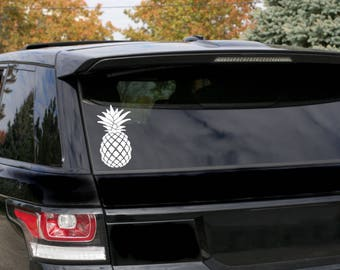 Pineapple Beach Living Car Decal - Can be used on any smooth surface glass/wood/plastic - You choose color & size ( Can add customization)