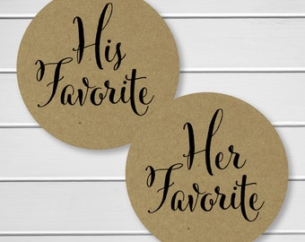 His Favorite Her Favorite Kraft Wedding Stickers, Favorites Wedding Favor Stickers, Wedding Favor Bag Sticker (#376-KR)