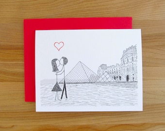 Canoodle Doodles No. 34 - Paris Louvre Museum // Romantic Valentine, Birthday, Anniversary, Engagement, or Bridal Shower card for Him or Her