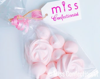 Roses & Kisses Meringue Cookies - Wedding Favor, Baby Shower Gift - Gluten Free, Hand Piped
