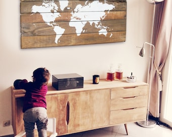 18 x 30 large rustic world map wood world map rustic dcor
