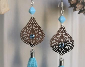 Light silver drop earrings, swarovski rhinestones, tassel and turquoise bead, silver 925 hooks