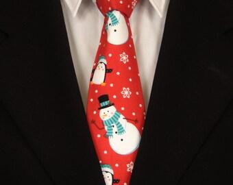 Christmas Necktie, Christmas Tie, Red Christmas Tie, Snowman Necktie, Snowman Tie, Mens Necktie, Mens Tie, Holiday Necktie, Holiday Tie, Dad