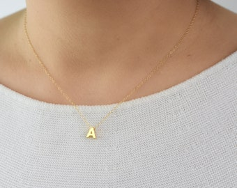 Gold Letter Necklace / Tiny Initial Necklace / Dainty Gold Necklace / Gold Monogram Necklace / Gold Initial Necklace Gift For Her AD076