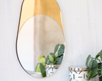 Gold and Silver Geometric Modern Mirror, CYLINDER