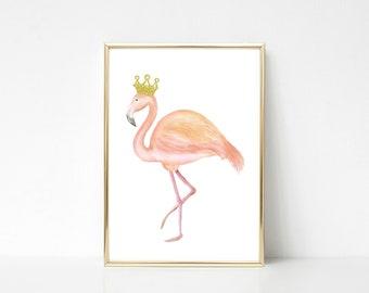 Flamingo Queen Wall Art Print